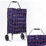 Two Wheeled Folding Shopping Cart with Tartan Patterns INC85008