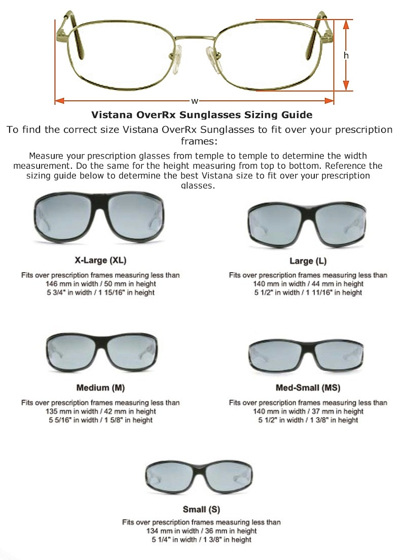 Vistana Sizing Guide and Frame/Lens Color Guide - BoomerStore